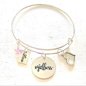 Girl Boss Silver Bangle Bracelet Jewelry Gift